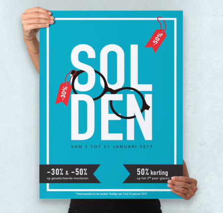 Poster design – Solden – Optiek Dejonghe